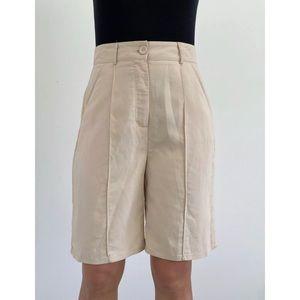 NASTY GAL Beige Pleated Long Shorts Size AU 10-12